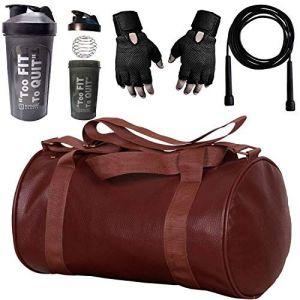 5 O' Clock Sports Polyester Gym Bag, Gym Gloves, Shaker Bottle and Skipping Rope Men & Women (Multicolor)
