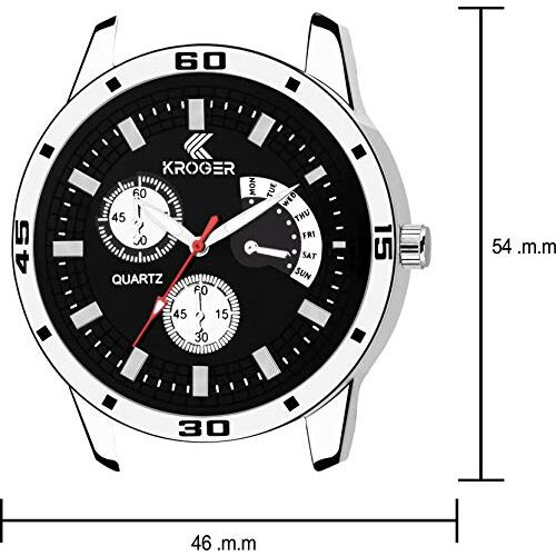 K-KROGER Metallic Analog White and Black Dial Men's Wrist Watches (KRG1218), Combo Pack of 2