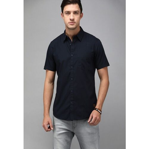Roadster Men Pack of 2 Navy Blue & Black Regular Fit Solid Casual Shirt
