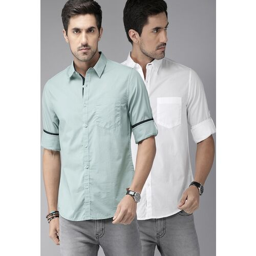 Roadster Men Pack of 2 White & Green Regular Fit Solid Casual Shirt