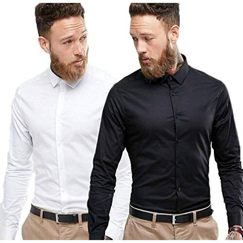 SANGAM Casual Shirt for Mens | Full Sleeves Formal Slim Fit Plain Office Shirts for Men | Cotton, (Combo Pack of 2)
