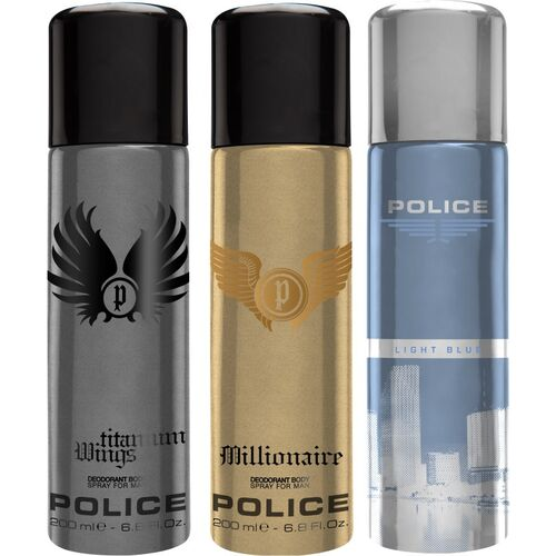 POLICE Millionaire & Wings Titanium & Light Blue Deodorant Spray - For Men(600 ml, Pack of 3)