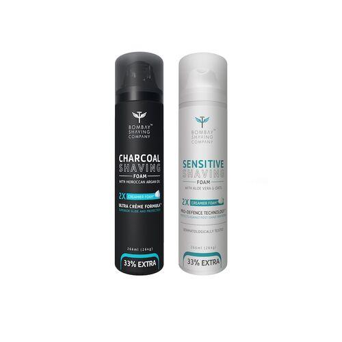 Bombay Shaving Company Pack of 2 Charcoal & Sensitive Shaving Foam Combo 264 g (each)