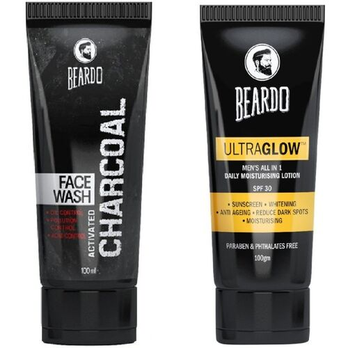 BEARDO Activated Charcoal Face Wash and Ultraglow Face Lotion for Men(2 Items in the set)