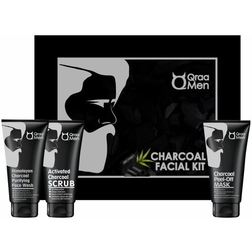 Qraa Charcoal Kit: Charcoal Scrub, Charcoal Face wash, Charcoal Peel-off Mask For Men-With Tea tree oil(3 Items in the set)