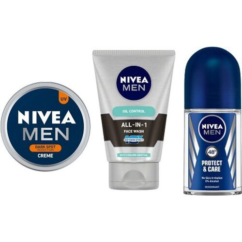 NIVEA MEN Dark Spot Reduction Crme (150ml), All In One Face Wash (100ml), Prodtect & Care Roll On (50ml)(3 Items in the set)