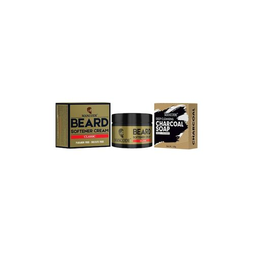 MANCODE Combo of 2 Beard Softening Cream Wild & Charcoal Soap - 175 g