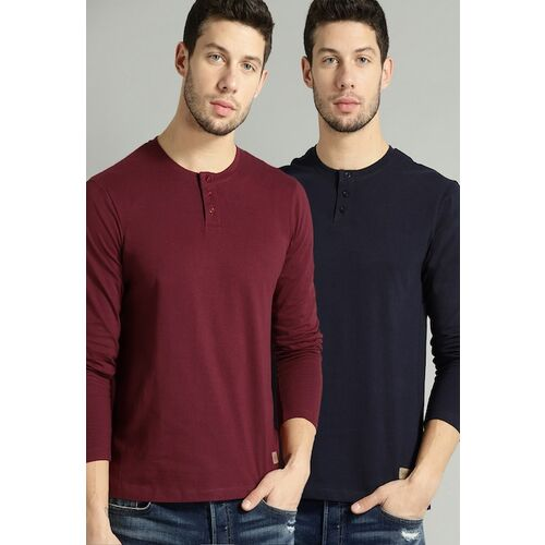 Roadster Men Pack Of 2 Solid T-shirts
