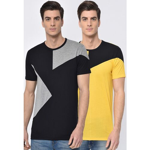 VIMAL JONNEY Men Pack of 2 Colourblocked Round Neck T-shirts