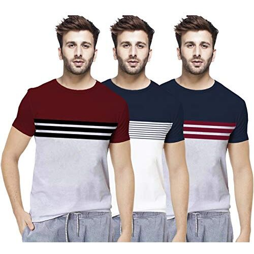 BLIVE Men's Striped Regular Fit Round Neck Cotton T-Shirt (Combo Pack of 3)