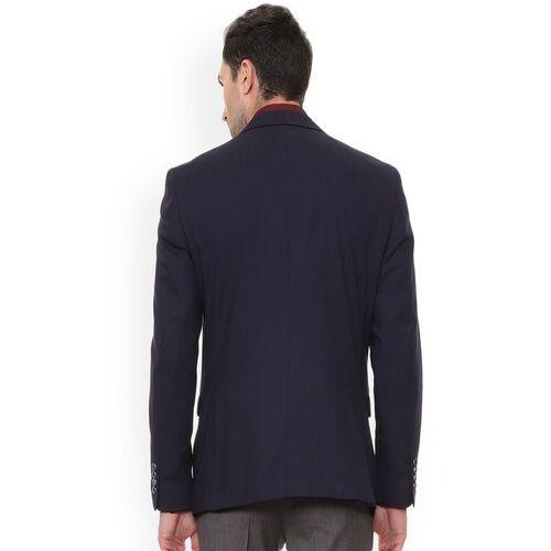 Van Heusen Men Navy Blue Solid Single-Breasted Blazer