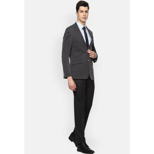 Van Heusen Men Grey Self-design Single Breasted Slim Fit Formal Blazer