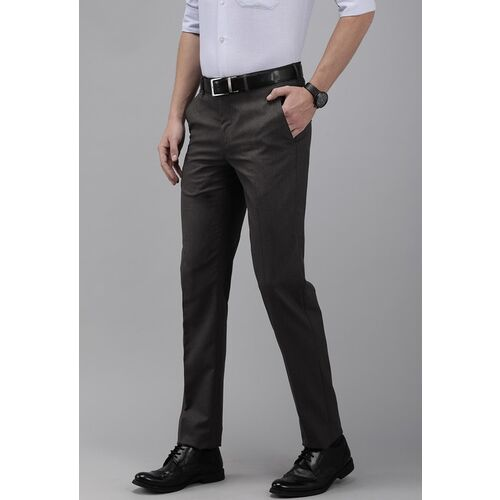Van Heusen Men Charcoal Grey Slim Fit Solid Formal Trousers