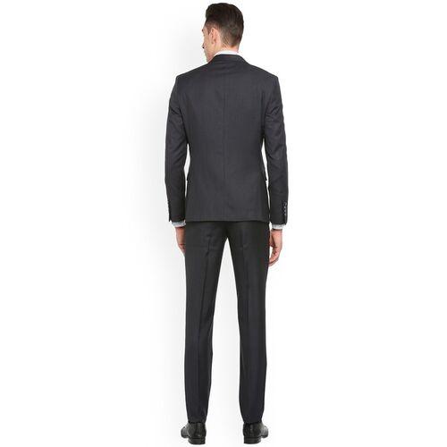 Van Heusen Men Grey Solid Single-Breasted Two Piece Suit