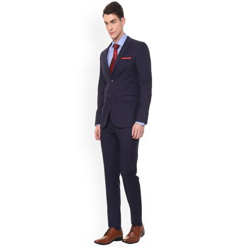 Van Heusen Men Navy Blue Solid Slim-Fit Two Piece Suit