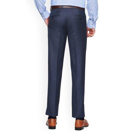 Van Heusen Men Blue Solid Slim Fit Formal Trousers