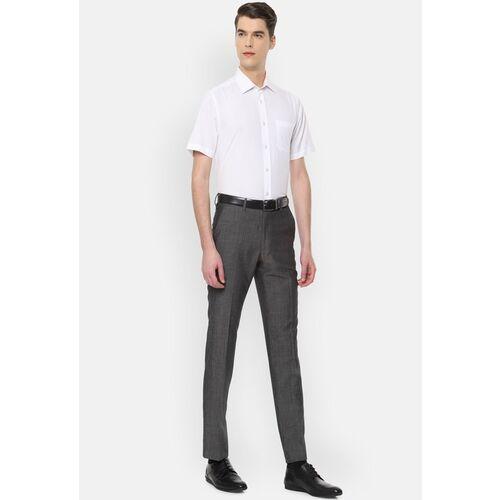 Van Heusen Men Charcoal Slim Fit Solid Formal Trousers