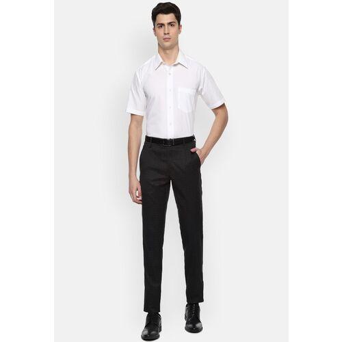 Van Heusen Men Black & White Slim Fit Checked Formal Trousers