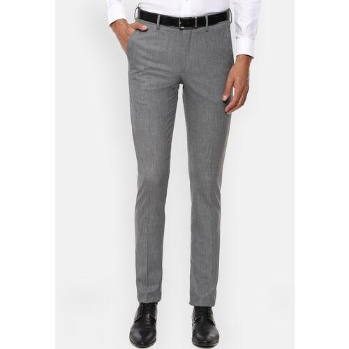 Van Heusen Men Grey Slim Fit Solid Formal Trousers