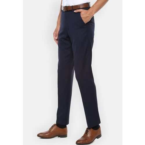Van Heusen Men Navy Blue Regular Fit Solid Formal Trousers
