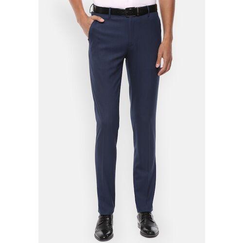 Van Heusen Men Navy Blue Slim Fit Solid Formal Trousers