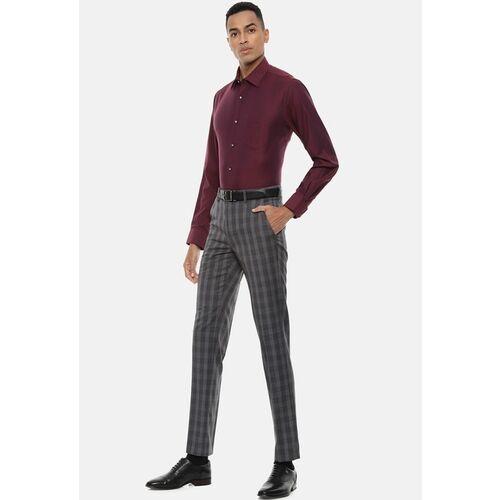 Van Heusen Men Grey Slim Fit Checked Formal Trousers