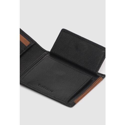 Van Heusen Men Black & Brown Colourblocked Two Fold Wallet