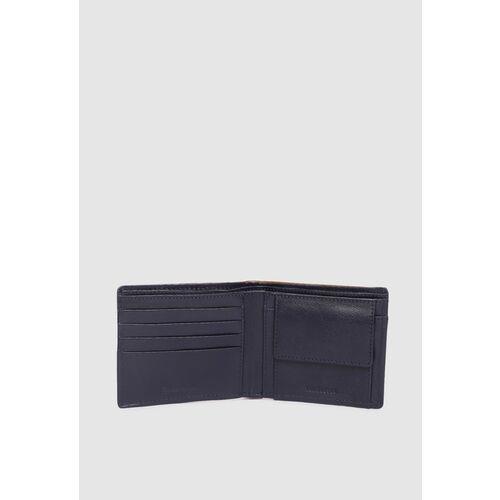 Van Heusen Men Navy Blue Solid Leather Two Fold Wallet