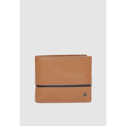 Van Heusen Men Tan Brown Solid Leather Two Fold Wallet