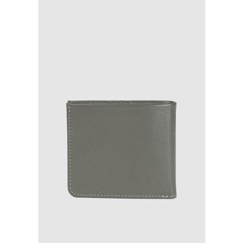 Van Heusen Men Grey Solid Two Fold Leather Wallet