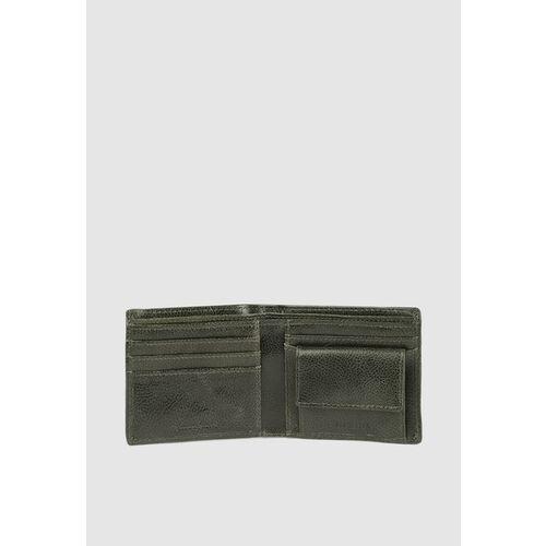 Van Heusen Men Olive Green Textured Two Fold Wallet