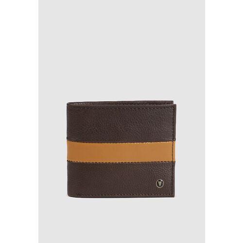 Van Heusen Men Brown & Yellow Colourblocked Leather Two Fold Wallet