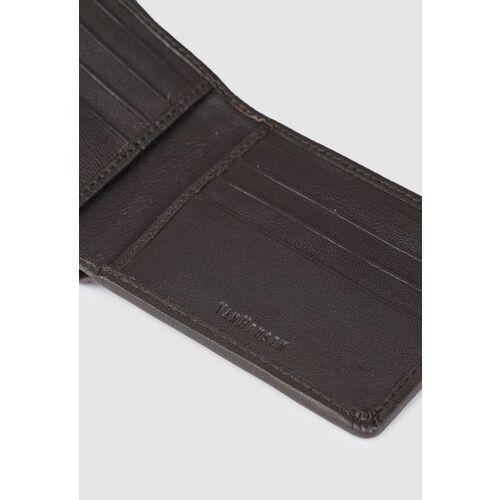 Van Heusen Men Brown Textured Two Fold Leather Wallet
