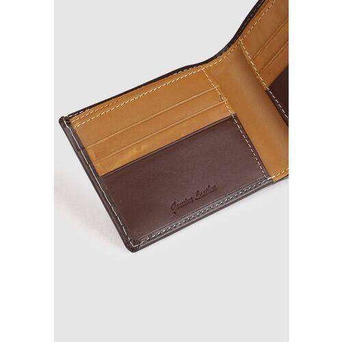 Van Heusen Men Brown Solid Leather Two Fold Wallet