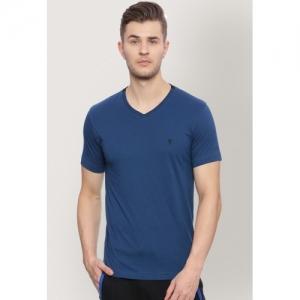 Van Heusen Men Blue Solid V-Neck T-shirt