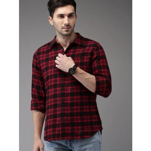 U TURN Men Checkered Casual Black, Red Shirt
