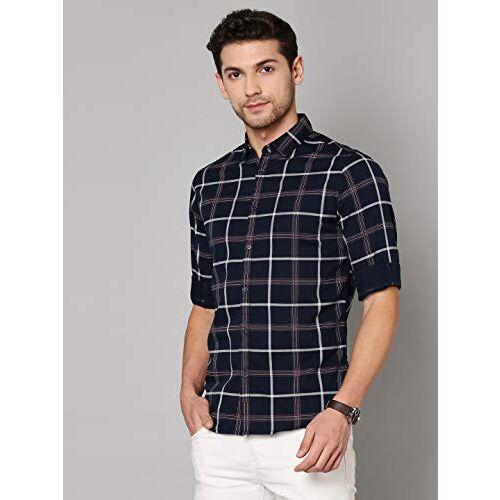 Dennis Lingo Men's Checkered Slim Fit Cotton Casual Shirt