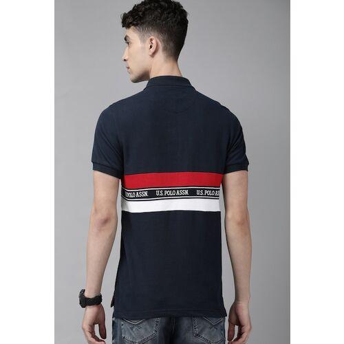 U.S. Polo Assn. Men Navy Blue & Red Striped Round Neck T-shirt