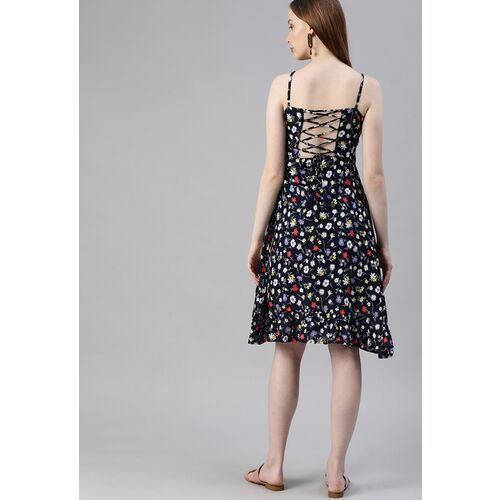 HERE&NOW Women Navy Blue & White Floral Printed Gathered A-Line Dress with Back Tie-Ups