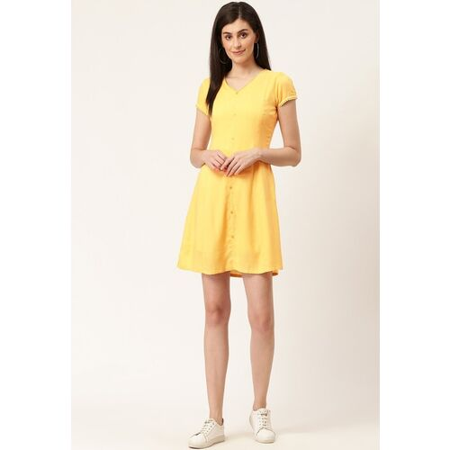 HERE&NOW Women A-line Yellow Dress