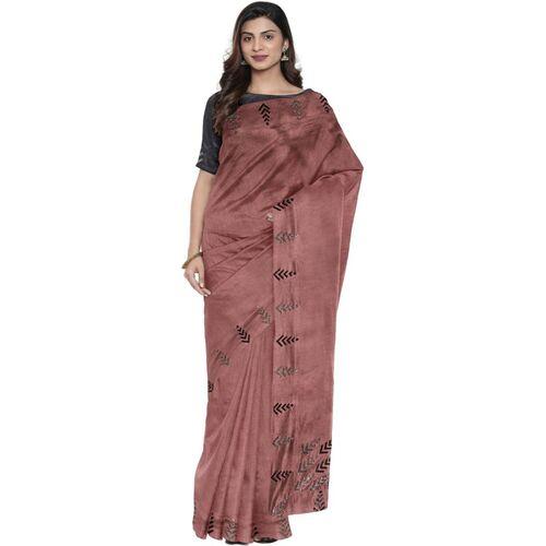Desibutik DESI Butik Self Design Fashion Poly Silk Saree(Pink)