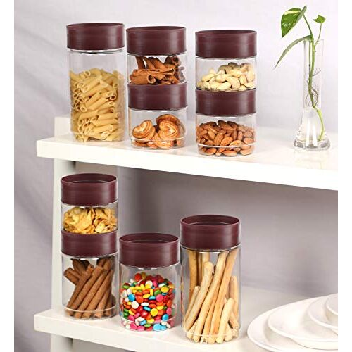 cello - 1500 ml Plastic Grocery Container(Pack of 6, Maroon)