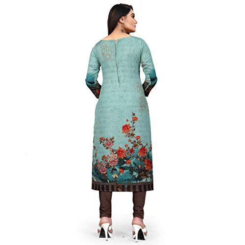 Rajnandini Women's Pista Green Cotton Printed Unstitched Salwar Suit Material