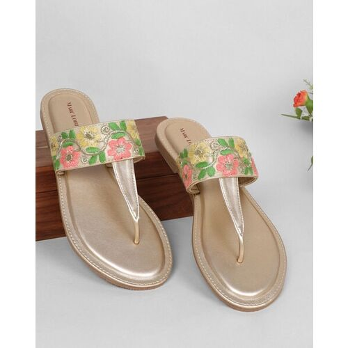 Marc Loire Embroidered T-strap Flat Sandals