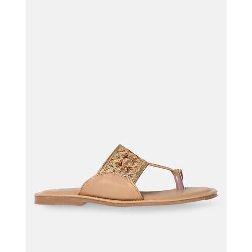 Marc Loire Embroidered Toe-Ring Flat Sandals