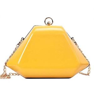Tooba Handicraft Yellow Synthetic Solid Clutch