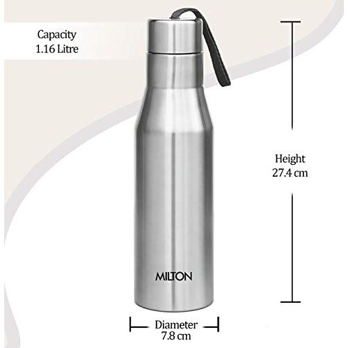 Milton Super 1000 Single Wall Stainless Steel Bottle, 1000 ml, Silver