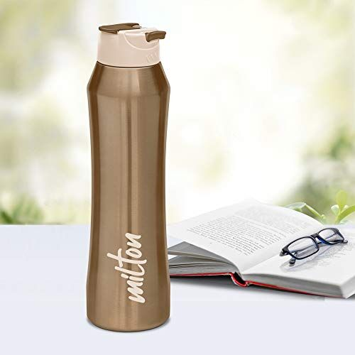 Milton Stark 600 Thermosteel 24 Hours Hot or Cold Water Bottle, 520 ml, Brown