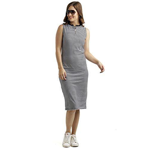 Miss Chase Women's Comfortable Round Neck Sleeveless Striped Midi Bodycon Dress with Zipper