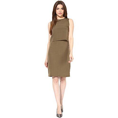 Miss Chase Women's Brick Red Solid Layered Sleeveless Round Neck Mini Dresses